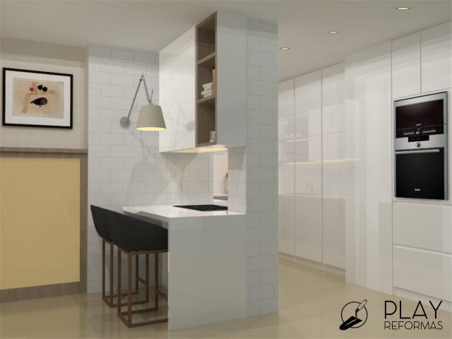 Diseño de cocina en vivienda en Gran Vía de Murcia y proyecto de reforma de cuarto de baño