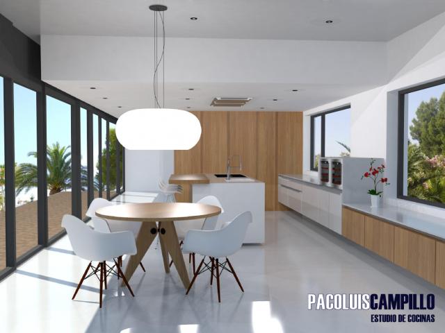 Diseño de cocina tipo para chalets de lujo en urbanización de Alicante